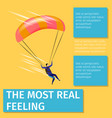 the most real feeling banner with skydiver flying vector image vector image