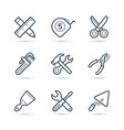 tools construction trendy icon set eps 10 vector image vector image