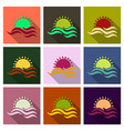 tropical sunset vintage beach print graphic design vector image
