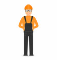 builder in overall and in hard hat isolated on vector image