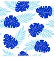 indigo tropical leaves seamless pattern vector image