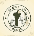 Stamp with map of Benin vector image