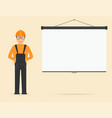 builder in overall and in hard hat projection vector image