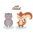 woodland animals wild icon vector image