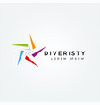 abstract colorful star diversity logo sign symbol vector image vector image