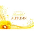 Autumn background with pansies flower falling vector image vector image