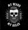 barbershop emblem template hipster skull vector image vector image