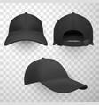 black baseball caps realistic vector image vector image