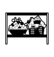 black sections silhouette of rack with bowl with vector image