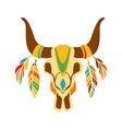 buffalo bull scull decorated with painting and vector image vector image