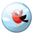 cartoon character of a red bird with black wings vector image vector image