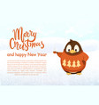 christmas and new year penguin with coffee cup vector image