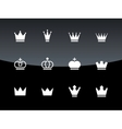 Crown icons on black background vector image vector image