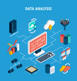 data analysis isometric flowchart vector image