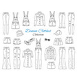 denim clothes collection sketch vector image vector image