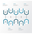economy icons line style set with partnership vector image vector image