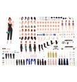 elegant young woman animation set or constructor