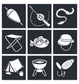 Fishing icon collection vector image vector image