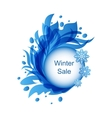 Floral Blue Frame with Snowflakes vector image vector image