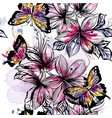floral seamless wallpaper pattern with butterflies vector image