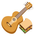 guitar logo hiking climbing traveling color vector image vector image