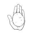 hand holding stone line art vector image