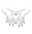 heart love symbol composed of two hands palms vector image