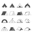 hiking and camping tent icons tourism vector image