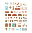 Home and office furniture interiors flat icons set vector image vector image