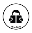Icon of Boy reading book vector image