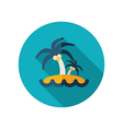 Island with palm trees flat icon Summer Vacation vector image