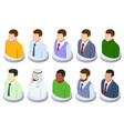 isometric young male faces avatar set vector image