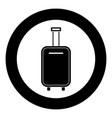 luggage bag black icon in circle isolated vector image vector image
