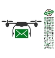 Mail Delivery Drone Icon With Bonus vector image vector image