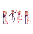 male female friends meeting greeting vector image
