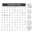 market editable line icons 100 set vector image vector image