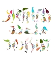 Mermaid collection sketch for your design vector image vector image