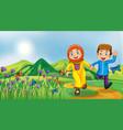 nature scene background with muslim kids running