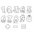 numbers collection with cartoon animals color book vector image vector image