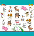 one a kind game with funny farm animal vector image vector image