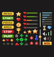 pixel game screen element set on black vector image