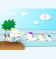 postal birds paper art vector image vector image