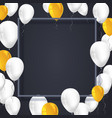 poster background with white yellow balloons