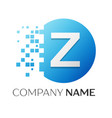 realistic letter z logo in colorful circle vector image vector image