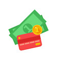 red bank card and cash vector image vector image