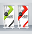 rollup business banner in geometric red and green vector image vector image