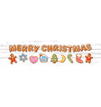 set christmas gingerbread cookies merry vector image vector image