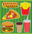 set hot dog burger french fries drink coffee vector image