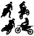 Set of biker motocross silhouettes