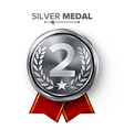 silver 2st place medal metal realistic vector image vector image